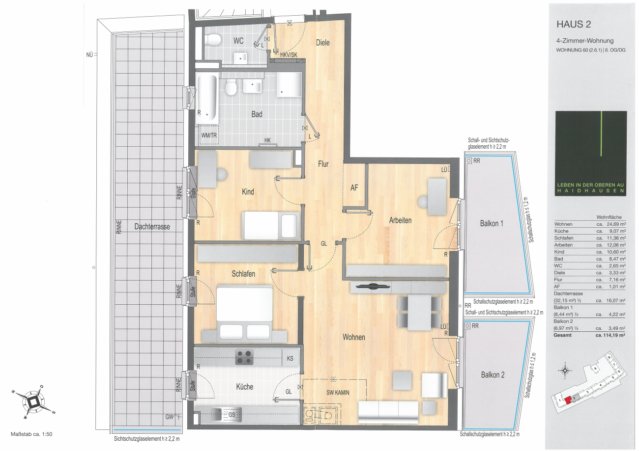 Grundriss wohnung 5 zimmer  MÜNCHEN- Obere Au / Haidhausen PROVISIONSFREIE 1- bis 5-Zimmer ...